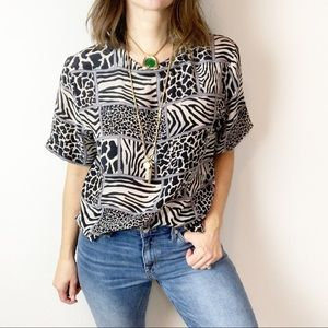 Vintage silk patchwork animal print blouse
